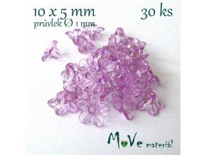 Zvonečky průhledné 10x5mm, 30ks, sv. fialové