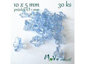 Zvonečky průhledné 10x5mm, 30ks, sv. modré