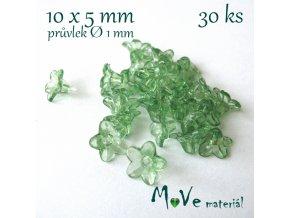 Zvonečky průhledné 10x5mm, 30ks, tm. zelené