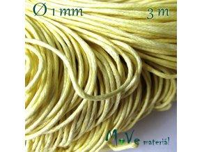 Šňůra voskovaná bavlněná 1mm, 3m, sv. žlutá