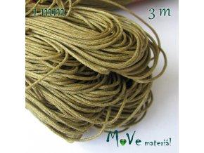 Šňůra voskovaná bavlněná 1mm, 3m, olivová