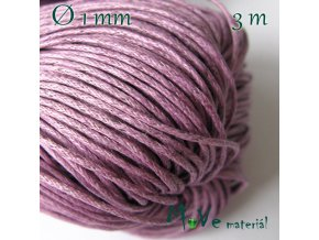 Šňůra voskovaná bavlněná 1mm, 3m, růžovofialová