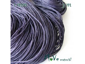 Šňůra voskovaná bavlněná 1mm, 3m, černofialová