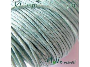 Šňůra voskovaná bavlněná 1mm, 3m, mátová