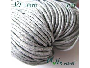 Šňůra voskovaná bavlněná 1mm, 3m, stříbrošedá