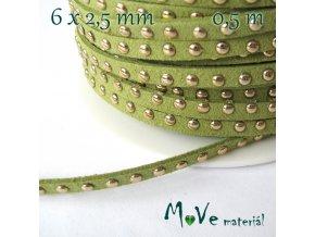 Plochá syntetická kůže s cvočky/0,5m, zelená