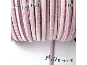 Plochá syntetická kůže, 1m, bledě růžová