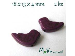 Ptáček howlitový 18x13x4mm, 2ks, fialový