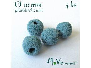 Lávový korálek cca 10mm, 4ks, tyrkysový