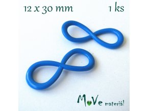 Mezikus kovový 12x30mm ležatá osmička, modrá