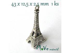 Přívěsek Eiffelovka 43x12,5x2,mm/1ks, starostříbro