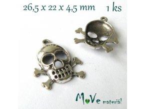 Přívěsek LEBKA 26,5x22x4,5mm,1ks,starostříbro