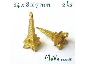 Přívěsek Eiffelovka 24x8x7mm, 2ks, zlatá