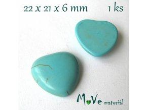 Kabošon přírodní kámen - srdce 22x21x6mm, 1ks, tyrkenit