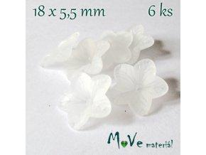 Akrylový květ - transparentní 18mm, 6ks, bílý