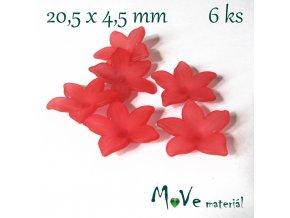 Akrylový květ - transparentní 20,5mm, 6ks, červený