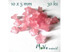 Zvonečky transparentní mat. 10x5mm, 30ks, růžové