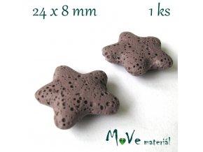 Lávový korálek hvězda 24x8mm, 1ks, fialovohnědá