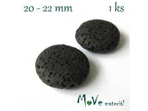 Lávový korálek placka cca 20mm, 1ks, černý