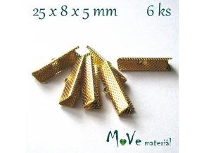 Koncovka na stužku plochá 25x8x5mm 6ks, zlatá