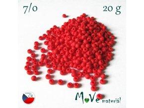 Český rokajl 7/0, 20 g, červený matný
