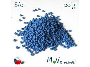 Český rokajl 8/0, 20 g, modrý matný