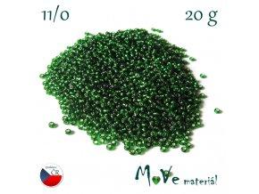 Český rokajl 11/0, 20 g, zelený - stříbrný průvlek