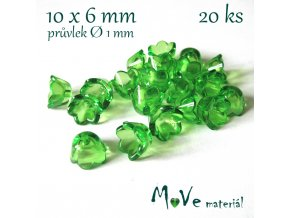Zvonečky průhledné 10x6mm, 20ks, sv. zelené