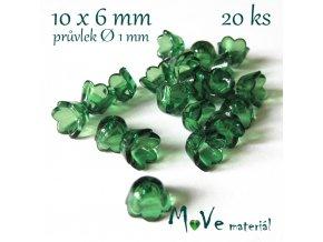 Zvonečky průhledné 10x6mm, 20ks, tm. zelené