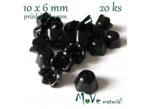 Zvonečky 10x6mm, 20ks, černé