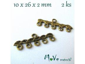 Ramínko listy 10x26x2mm,2ks,starozlato