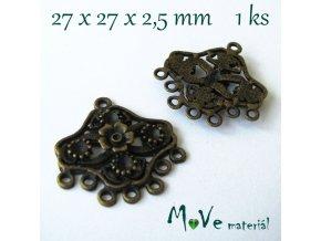 Ramínko 27x27x2,5mm,1ks, staromosaz