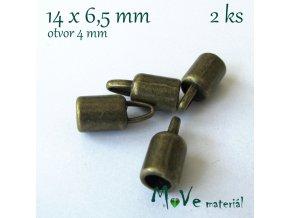 Koncovka 14x6,5mm, 2ks, staromosazná