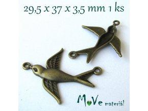 Mezikus ptáček 29,5x37x3,5mm, 1ks, staromosaz