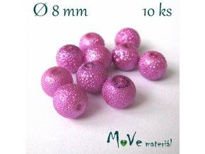 "Voskové perle ""Zigana"" 8mm, 10ks, fuchsiové"