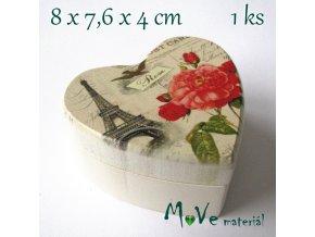 Dřevěná krabička na šperky - 8x7,6x4,6cm, Eiffelovka