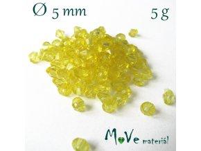 Korálek plast - sluníčko 5mm, 5g, tm. žluté