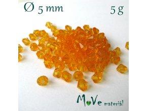 Korálek plast - sluníčko 5mm, 5g, oranžové