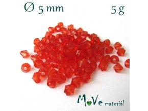 Korálek plast - sluníčko 5mm, 5g, sv. červené