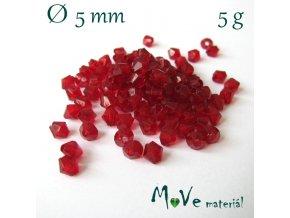 Korálek plast - sluníčko 5mm, 5g, tm. červené