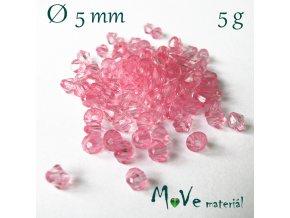 Korálek plast - sluníčko 5mm, 5g, sv. růžové