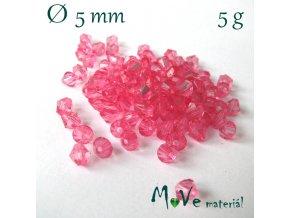 Korálek plast - sluníčko 5mm, 5g, růžové