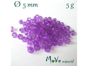 Korálek plast - sluníčko 5mm, 5g, fialové