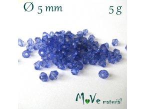 Korálek plast - sluníčko 5mm, 5g, tm. modré