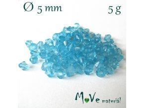 Korálek plast - sluníčko 5mm, 5g, tyrkysové