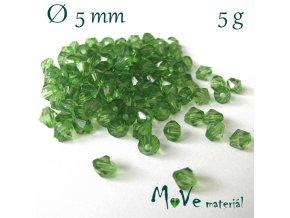 Korálek plast - sluníčko 5mm, 5g, tm. zelené