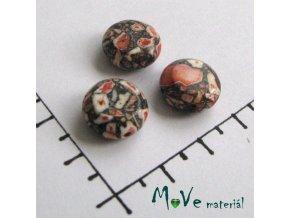 Korálky Marble placka rezavohnědá 10 - 12 mm 3 ks