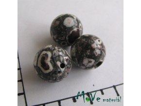 Korálky Marble tmavě šedá 12 mm 3 ks
