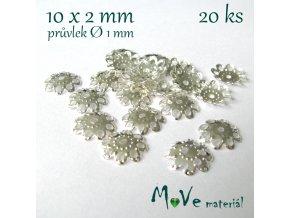 Kaplík filigrán - 10x2mm, 20ks, stříbrný