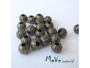 Korálek kovový vroubkovaný 6mm/20ks, staromosaz